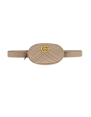 Gucci Porcelain Rose Beige GG Marmont Small Matelasse Belt Bag sz 85/34""