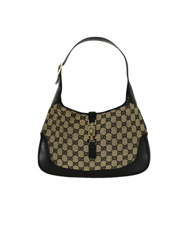 Gucci Black Monogram Canvas/Leather Jackie-O Shoulder Bag
