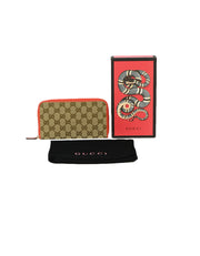Gucci Monogram Zip Around Wallet w/ Leather Trim