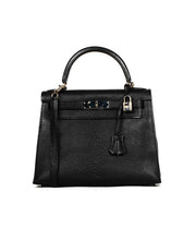 Hermes Black Chevre Leather 28cm Rigid Sellier Kelly Bag