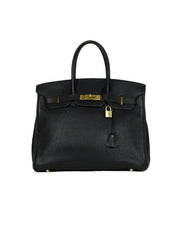 Hermes 2005 Black Togo Leather 35cm Birkin Bag w/ Goldtone Hardware