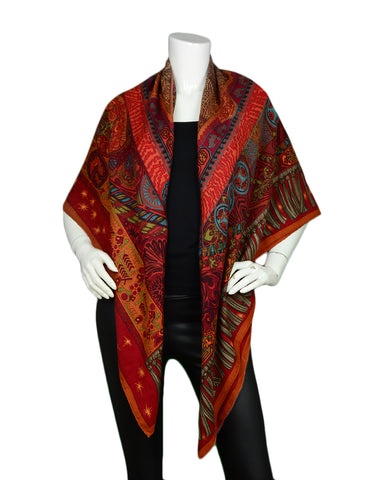 "Hermes Orange/Red ""Sur Un Tapis Volant"" Silk & Cashmere 140cm Shawl by Annie Faivre"