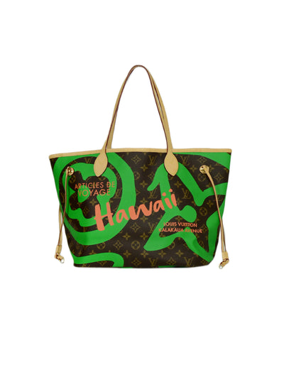 Louis Vuitton 2017 Monogram Canvas Limited Edition Monogram Tahitienne Hawaii Neverfull MM Tote Bag
