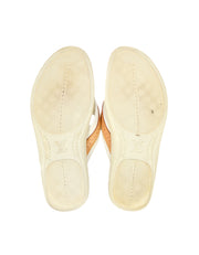 Louis Vuitton White Canvas/Leather Logo Thong Sandals Sz 38