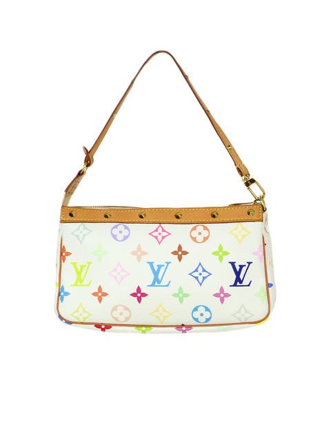 Louis Vuitton White Multi-Color Pochette Bag