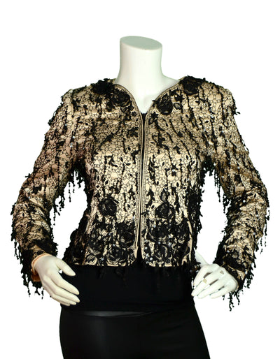 Oscar de la Renta Champagne Silk Embroidered Jacket w/Sequins sz S