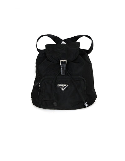 Prada Black Nylon Backpack Bag with Front Zip Pocket