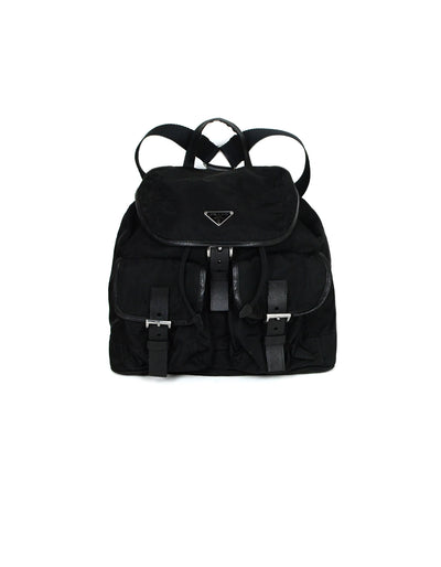 Prada Black Nylon & Leather Trim Double Pocket Backpack Bag