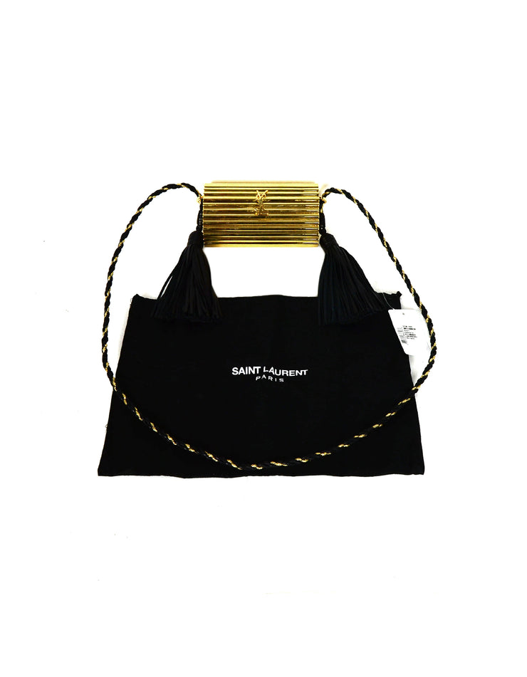 Saint Laurent Gold Plexiglass Opium Minaudiere w/ Leather Tassel