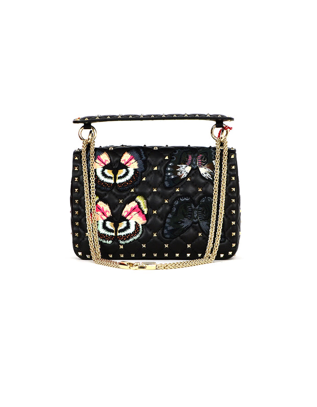 Valentino NWT Black Butterfly Embroidered Medium Rockstud Spike Flap Bag