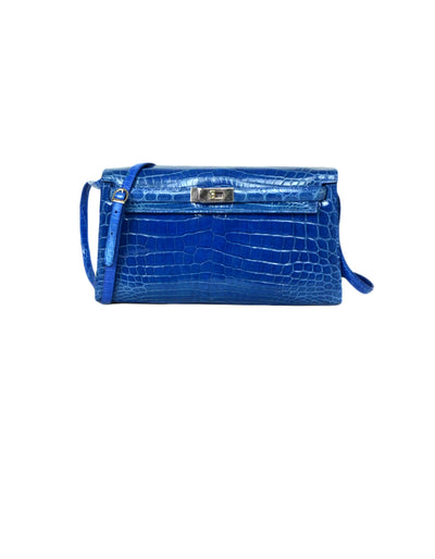 Cape Cobra Nile Crocodile Royal Blue Clutch/Shoulder Bag