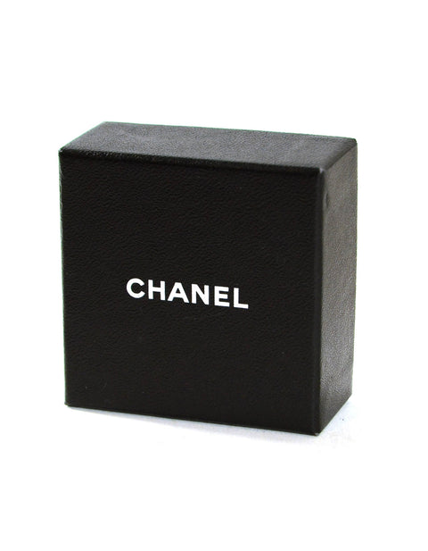 Chanel Black Grey Crystal Bow Brooch w/ CC