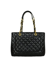 Chanel 2014 Discontinued Black Caviar Leather Quilted Grand Shopper Tote Bag