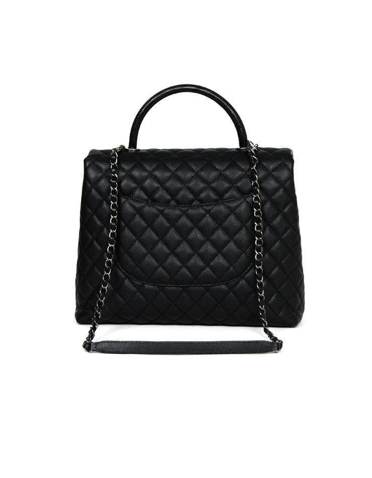 Chanel Black Caviar/Lizard Quilted Large Coco Top Handle Kelly Style Bag