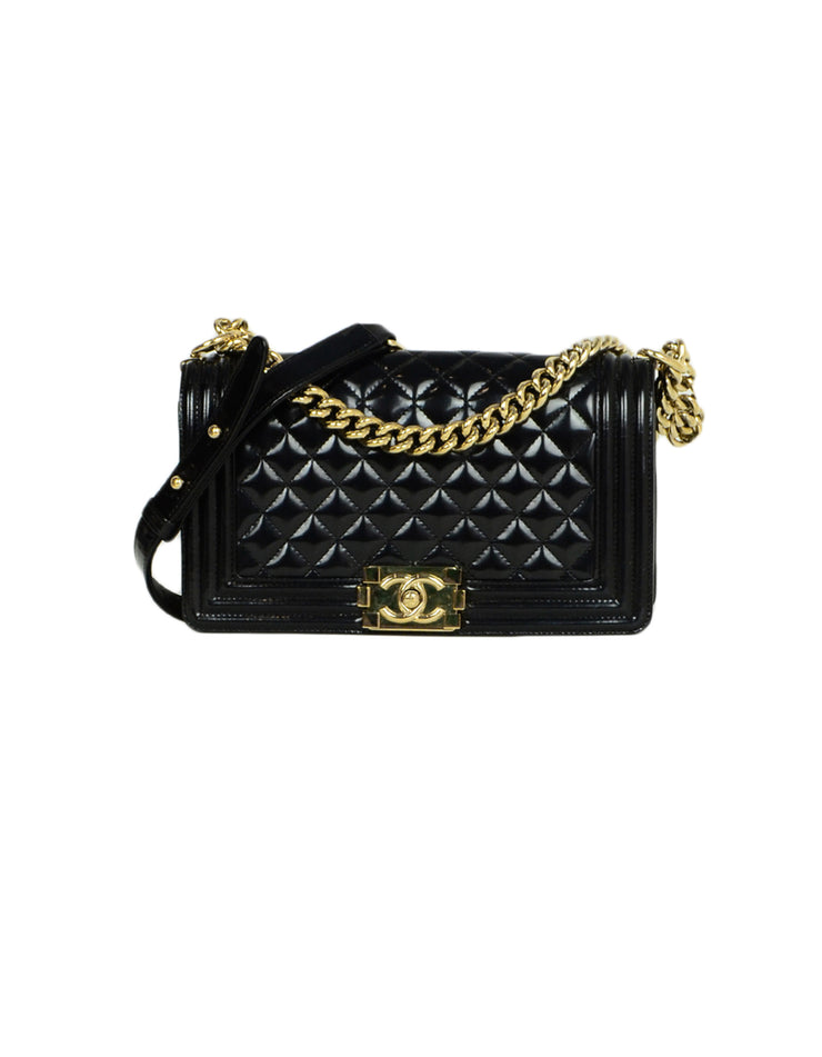 Chanel 2016-2017 Black Glazed Calfskin Quilted Leather Medium Boy Bag
