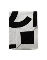 Chanel Black Grey Merino Wool & Cashmere CC Throw Blanket