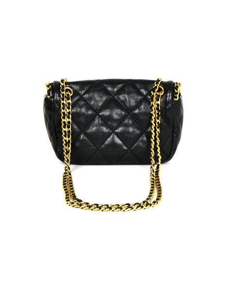 Chanel 2011 Black Lambskin Leather Quilted Mini Chain Me Flap Crossbody Bag
