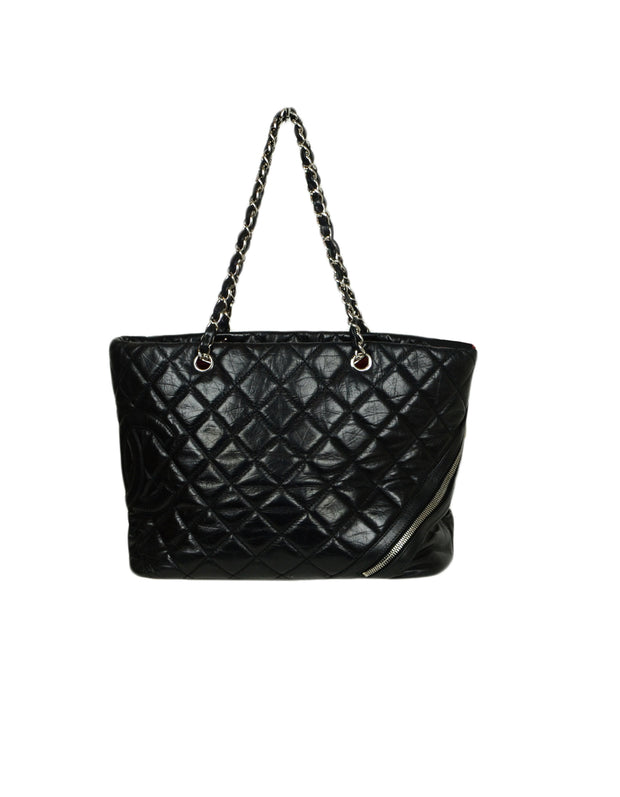 Chanel Leather Black Calfskin Leather CC Cambon Tote Bag