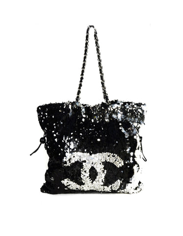 Chanel Black/Silver Sequin Summer Night Drawstring Tote Bag