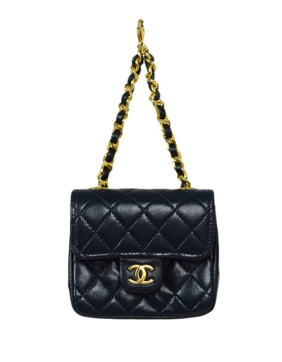 Chanel Navy Lambskin Quilted Micro Mini Flap Bag Charm