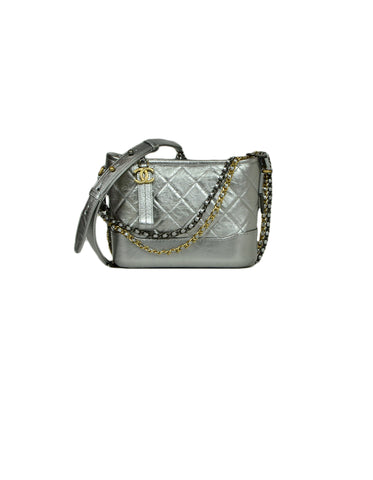 Chanel Silver Metallic Calfskin Quilted Small Gabrielle Hobo Bag