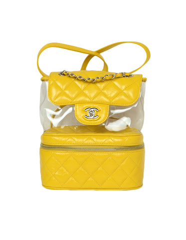 Chanel Yellow Crumpled Calfskin PVC Quilted Backpack Bag