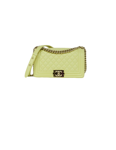 Chanel Yellow Leather Medium Boy Bag