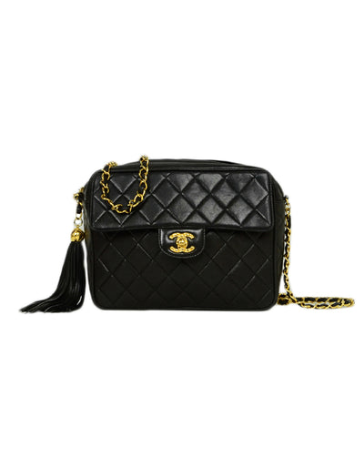 Chanel 1990s Black Lambskin Quilted CC Camera Bag