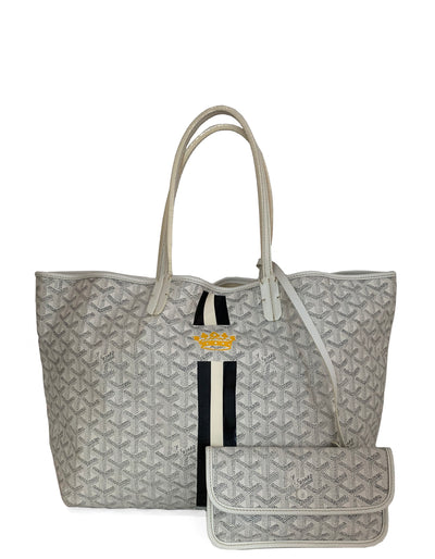 Goyard COLLECTORS White Goyardine Saint Louis PM Tote w/ Stripe & Crown