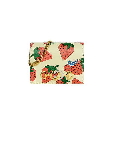 Gucci NEW Zumi Strawberry Print Card Case Wallet w. Chain