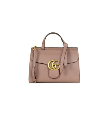 Gucci Calfskin Antique Rose Leather Small GG Marmont Top Handle Bag
