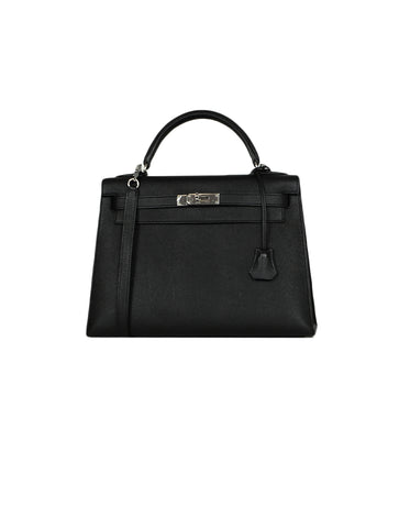 Hermes Black Epsom Leather 32cm Sellier Kelly Bag w/ Strap Lock & Clochette