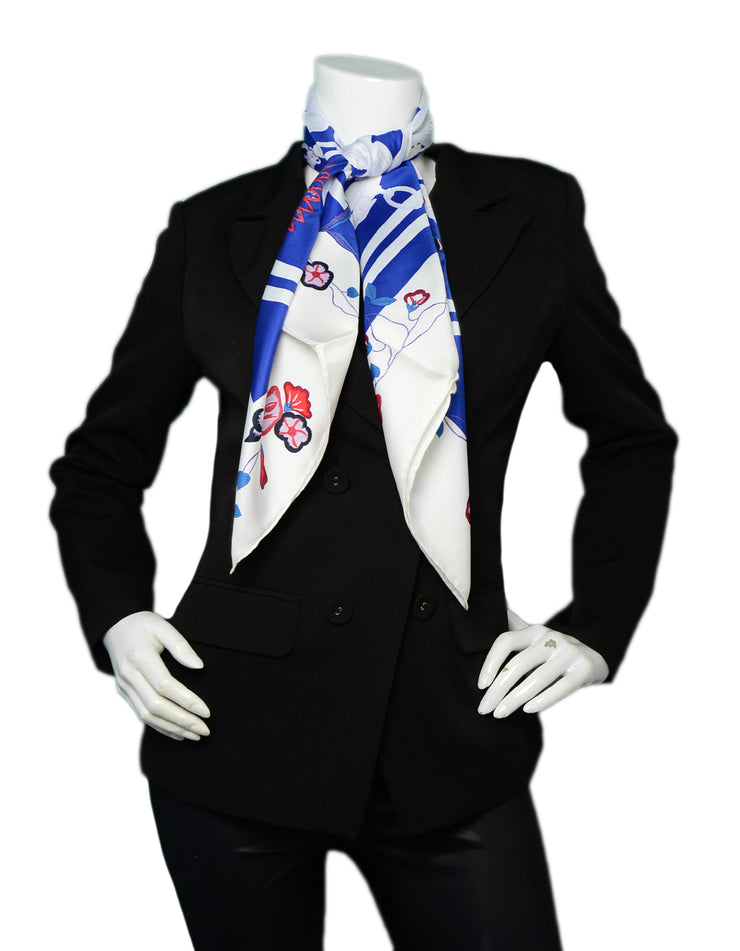 Hermes Bleu/Blanc/Rouge Brides Fleuries by Hugo Grygkar Silk Scarf