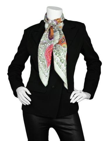 Hermes White Multi-color L'Arbre de Vie 90cm Scarf Designed by Christine Henry