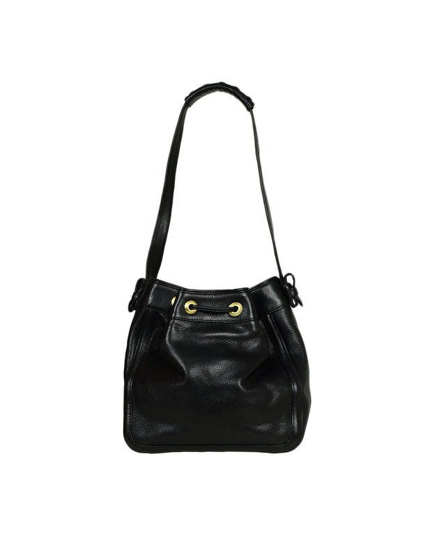 Kieselstein-Cord Black Leather Bucket Bag w/ Antiqued Gold Hadware