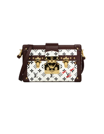 Louis Vuitton Black/White Monogram Petite Malle Trunk Crossbody Bag