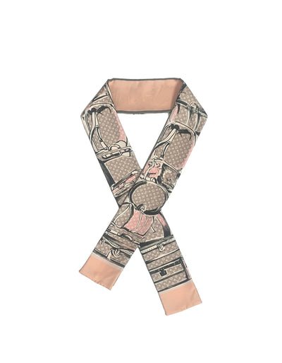 Louis Vuitton Rose Poudre Monogram Trunks Bandeau Silk Neck Scarf