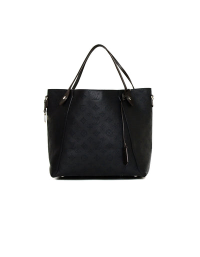 Louis Vuitton Black Mahina Leather Perforated Monogram Hina MM Bag
