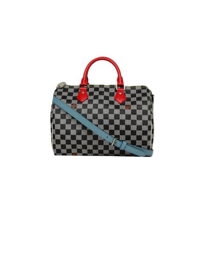 Louis Vuitton Limited Edition Black/White Damier Speedy Bandouliere 30