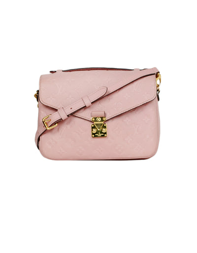 Louis Vuitton Rose Ballerine Pink Monogram Leather Empreinte Pochette Metis Messenger Bag