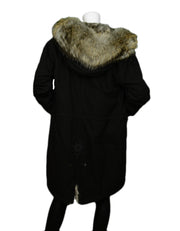 Mr & Mrs Italy Black Rabbit Fur Lined Parka with Fur Hood sz M