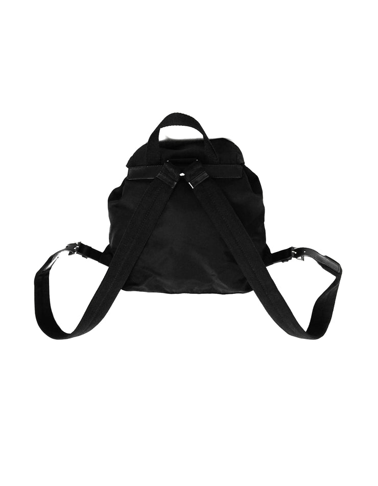 Prada Black Nylon Small Double Pocket Backpack Bag