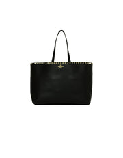 Valentino Black Leather Pebbled Rockstud Vitello Tote Bag
