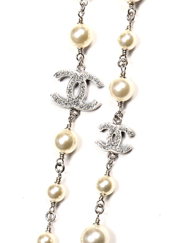 "Chanel 2019 42"" Faux Pearl/Crystal CC Necklace"