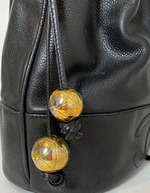 Chanel Black Caviar Leather CC Vintage Bucket Bag