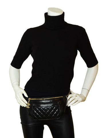 Chanel Black Crumpled Calfskin Bi Quilted Waist Bag Fanny Pack