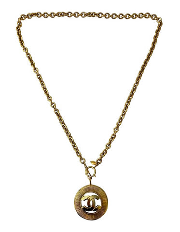 Chanel '90S Vintage Goldtone CC Pendant Necklace