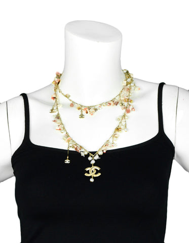 Chanel Seashell & Faux Pearl Necklace Belt