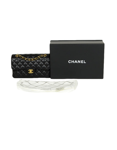 "Chanel Black Quilted Caviar Leather 9"" Small Double Flap Classic Bag GHW"
