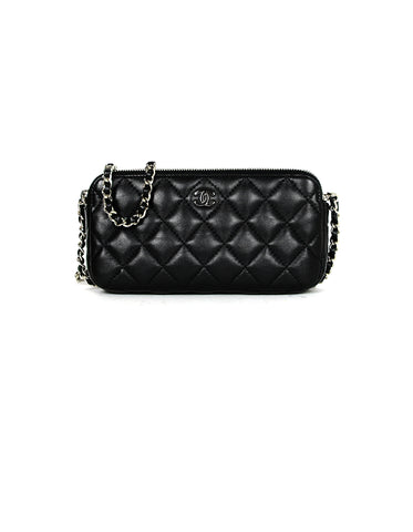 Chanel Black Lambskin Quilted Leather Classic Clutch with Chain